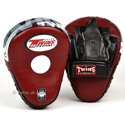 Twins PML-10 Deluxe Curved Focus Mitts - Burgundy